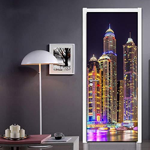 Pegatinas de pared de puerta, papel tapiz de vinilo de PVC, vista nocturna de la ciudad en 3D, moderno creativo, autoadhesivo, sala de estar, dormitorio, pegatinas para puerta 3D