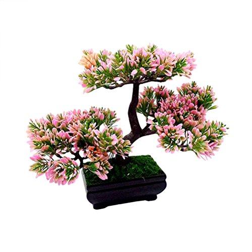 VORCOOL Artificial Guest-Greeting Pine Bonsai Mini Simulation Tree Plant (Rosa)