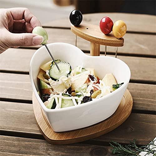 Salladskål Hjärtformad salladskål frukt efterrätt cereal snack glass skål med bambu trä konsol kreativ keramisk bordsartiklar 6,3 inches vit Spannmålsskål