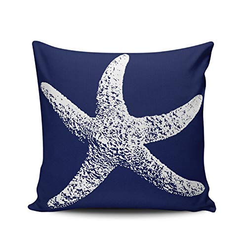 WEINIYA Navy Blue and White Starfish Pillowcase Home Decorative 20X20 Inch Square Throw Pillow Case Cushion Covers Double Sided Printed