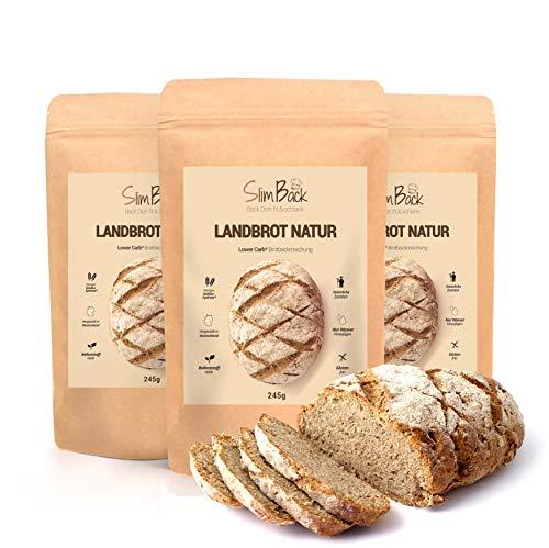 SlimBack - LOWER CARB LANDBROT Natur - 3er Pack - Brot Backmischung ohne Getreide für ca. 1,4kg Brot | Extra gut...