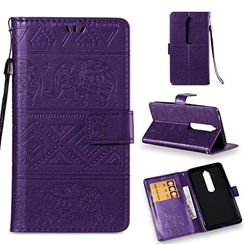 LMFULM® Hülle für Nokia 6.1 / Nokia 6 2018 (5,5 Zoll) PU Leder Magnet Brieftasche Lederhülle Elefant Prägung Design Stent-Funktion Handyhülle für Nokia 6.1 / Nokia 6 2018 Lila