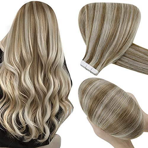 Hetto Humain Cheveux Extention Adhesif Blond Doré Mixte Blanchissant,14 Pouces Tape Bande Extensions Lisse Adhesive Naturel 20 Pièces 50g par Paquet