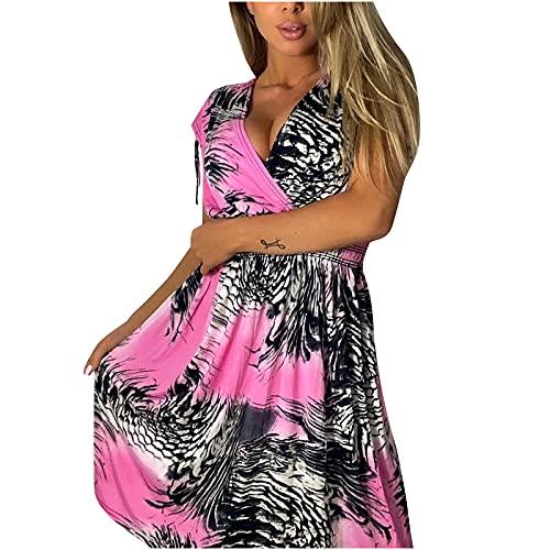 AMhomely Vestido de mujer para mujer, talla grande, elegante, casual, manga corta, impresión de cuello redondo, tamaño Reino Unido, vestidos de noche, trabajo, vestido maxi