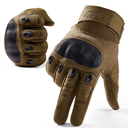 FREETOO Knuckle Tactical Gloves for Men Desert Military Gloves for...