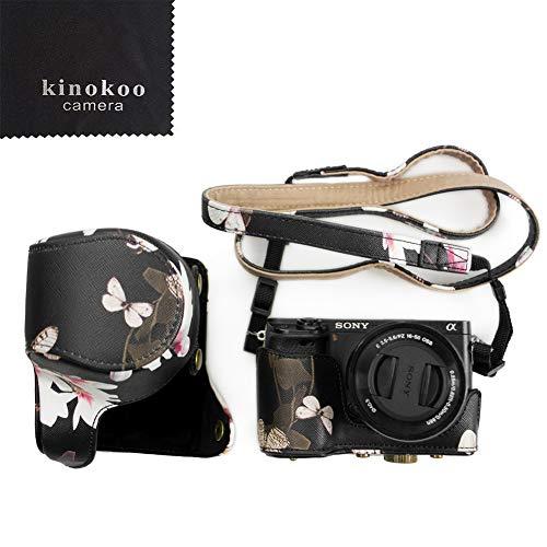 kinokoo - Custodia per fotocamera Sony A6000 A6300, in pelle PU, progettata appositamente per obiettivo da 16-50 mm, colore: Nero