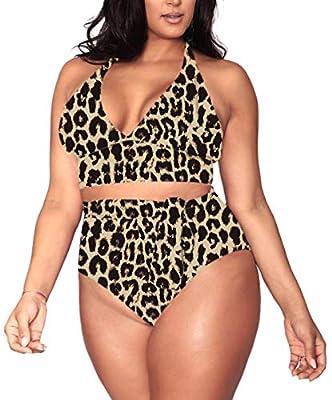 Women's 2 Pieces Plus Size Swimwear High Waist Halter Bikini Swimsuits Brown Leopard 2XL