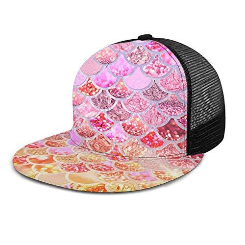ZORIN 3D Flat Bill Baseball Caps Pink Gold Meerjungfrau Schuppen Glitzer Regenbogen Snapback Sport Mesh Hüte