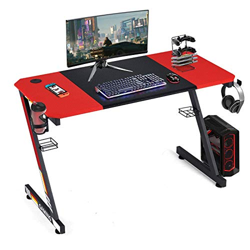 YODOLLA 47.2' Gaming Desk Home Office Computer Table, Gamer Workstation with Cup Holder, Headphone Hook & 2 Cable Management Holes(with 2 Types Sticker)