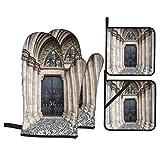 Ofenhandschuhe und Topflappen 4-teilig Set Eingang Matthias Kirche Budapest Ungarn wasserdicht und...