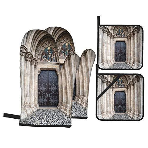 Ofenhandschuhe und Topflappen 4-teilig Set Eingang Matthias Kirche Budapest Ungarn wasserdicht und hitzebeständig,Topfhandschuhe für Kochen,Backen,Grillen