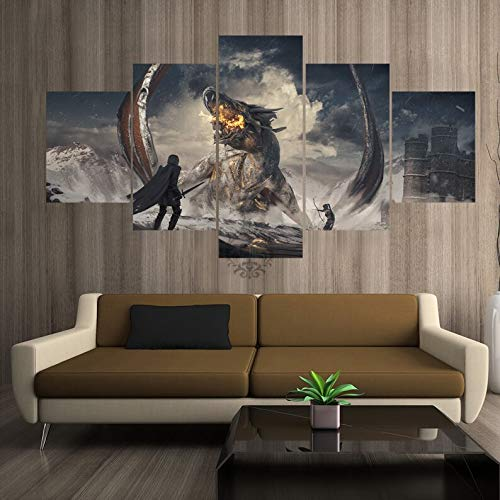 Dekoratives Gemälde-Poster, Motiv: Drachenritter, Jägerspiel, rahmenlos, Größe 3, 5 Stück