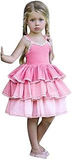 BaZhaHei Abito Bambina a Righe Elegante Carnevale 1-5 Anni Casuale Abito da Sera Bambina Manica Lunga Mini Moda Vestito da Principessa Rosso Ragazza per Nozze Compleanno Club Serata di Festa Costumi