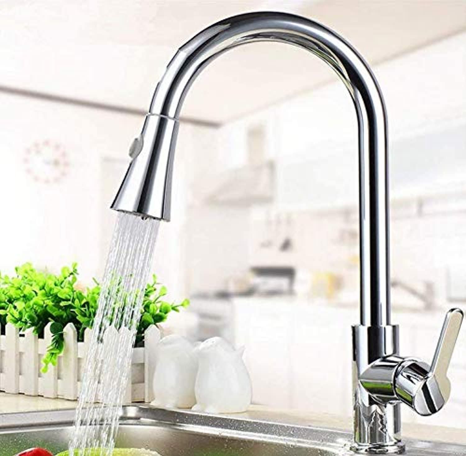 Kitchen Fauct Kitchen Sink Taps Kitchen Sink Tap Solid Brass Spout Head Sink Pull-Out Faucet Telescopic Basin Mixer Tap Sink Faucet Hot and Cold (color   -, Size   -)