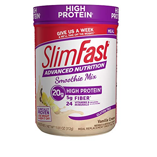 SlimFast Advanced Nutrition Vanilla Cream Smoothie Mix - Weight Loss Meal Replacement - 20g of protein - 12 servings - Pantry Friendly