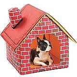 HelloCreate - Casa para gatos, caseta para perros, gatos, casa para perros pequeños, chimenea, ladrillo, casa para mascotas