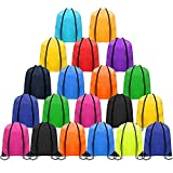 CHEPULA 20Pcs Drawstring Backpack Bags Polyester Cinch Sacks String Portable Nylon Backpack Multicolor for School,Travel,Gym,Yoga,Outdoor Sports & Storage