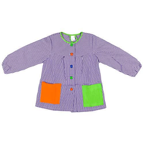 H HANSEL HOME Bata Escolar Infantil Baby Infantil de Cuadros Pequeños (Lila,9-10 años)