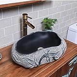 YYZD® lavabo de cerámica estilo imitación piedra lavabo lavabo baño inodoro...
