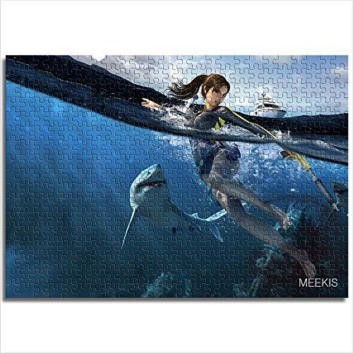 Mini 1000 piezas Sea Shark Yacht Tomb Raider Rompecabezas de impresión digital HD Rompecabezas de papel