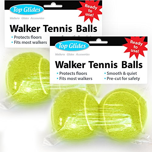 Top Glides Precut Walker Tennis Ball Glides - Yellow - 2 Pairs