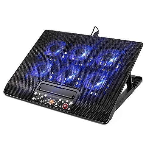 Almohadilla de enfriamiento for computadora portátil, 12 '-17' Refrigerador portátil ultra delgado portátil con alimentación por USB con 6 ventiladores silenciosos a una computadora portátil de 1800 R