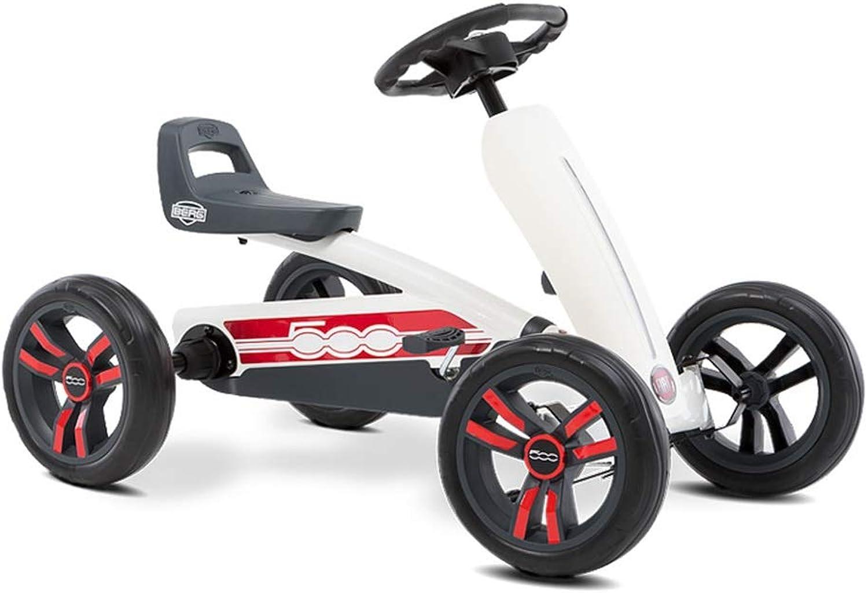 Kartfahren Kinderfahrrad vierrdriger Kart Kinderwagen Spielzeug Kinderwagen Rennlenkrad Design Sitz 3 verstellbar, kraftvoller Hinterradantrieb (Farbe   Weiß, Größe   83  49  50CM)