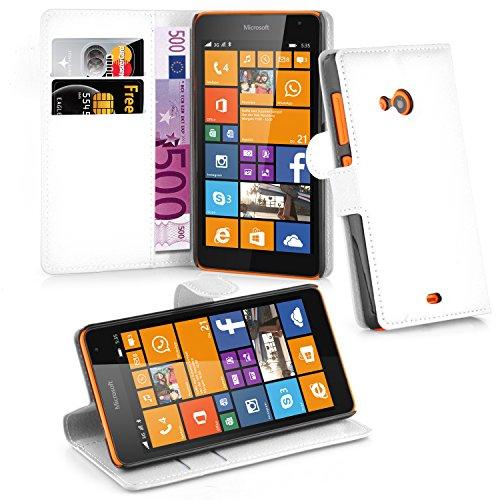 Cadorabo Hülle für Nokia Lumia 535 in ARKTIS WEIß - Handyhülle mit Magnetverschluss, Standfunktion & Kartenfach - Hülle Cover Schutzhülle Etui Tasche Book Klapp Style