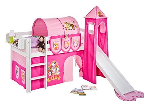 Lilokids Spielbett Jelle Filly, Hochbett mit Turm, Rutsche und Vorhang Kinderbett, Holz, weiß, 208 x 98 x 113 cm