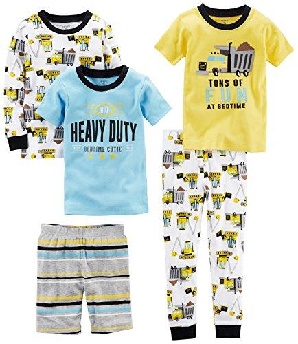 Carter's Boys' 5-Piece Cotton Snug-Fit Pajamas, Construction, 12 Months Carters Boys Five Pack