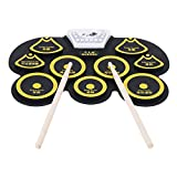 EEEXY 9 Silicon Mini USB Drum Kit Electronic Bass Drum Pedal Pad Kids Toy Machine Set with Drumsticks Percussion Musical Instrument,Yellow