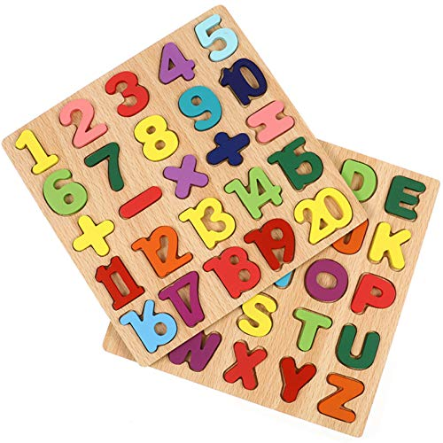 Gitua 2 Stück Holzpuzzle Spielzeug, Bunt Alphabet ABC Buchstaben Zahlen Gestalten Holz Puzzle Blöcke für Kleinkinder und Vorschulkinder