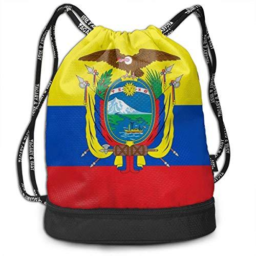 PmseK Turnbeutel,Kordelzug Rucksack Flag of Ecuador Print Drawstring Backpack Bag Outdoor Bundle Backpack Gym Sackpack Travel Sport Yoga Gym Cinch Bag Laptop Sack Bag Beach Rucksack for Women & Men
