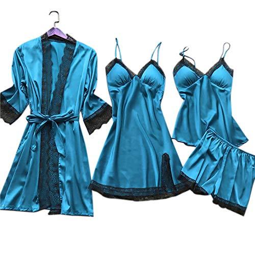 ShSnnwrl Pijama Mujer de Pijamas Hombre Bata de Seda Traje de Dormir Conjunto de Pijama de satén de Encaje para Mujer Conjunto de camisón con CU