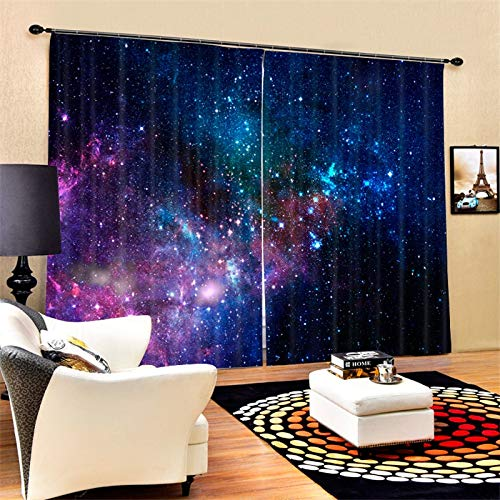 MAOYYM2 Outer Galaxy Universe Nebula Starry Sky Waterproof Mildew Resistant Polyester Fabric Curtains Colorful Blackout 3D Window Curtains For Living Room Office Bedroom (2 Panel) (2x W30 xH66)