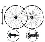 MZPWJD Ciclismo Ruedas Juego Ruedas Bicicleta20 26' MTB Rim Rueda Libre,Rodamiento Sellado,Freno De Disco/V Freno 6 7 8 9 Velocidad QR 32H (Color : Black, Size : 20')