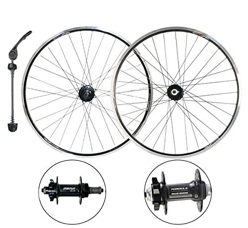 MZPWJD Ciclismo Ruote Doppio Muro Set Ruote Bici 20' 26' MTB Set Ruote Bici Sgancio Rapido,Cuscinetto Sigillato,Freno A Disco/V Freno 6 7 8 9 Ruota Libera HUBS 32H (Color : Black, Size : 20')