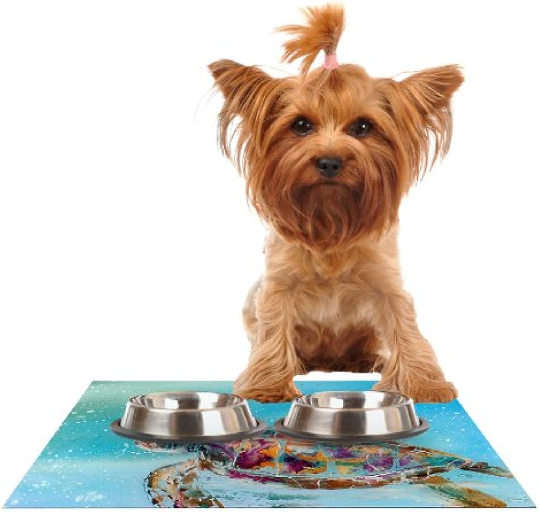 KESS InHouse Josh Serafin Home Sweet Home  bluee Green Feeding Mat for Pet Bowl, 18 by 13Inch