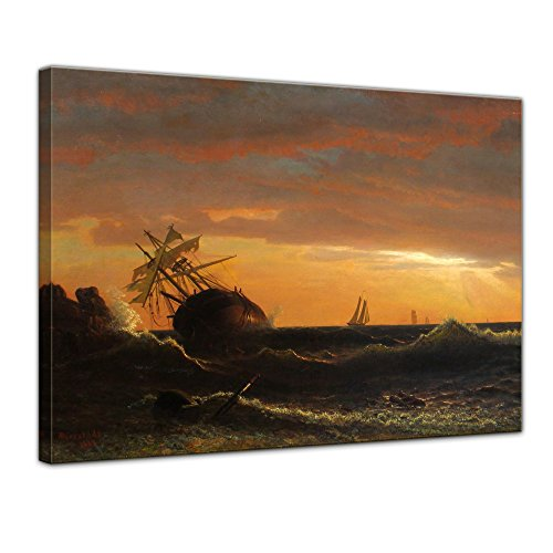 Bilderdepot24 Bild auf Leinwand | Albert Bierstadt Beached Ship in 70x50 cm als Wandbild | Wand-deko Dekoration Wohnung alte Meister | 180759-70x50