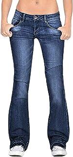U/A Pantalones vaqueros de cintura baja con botones ajustados, delgados, informales, con bolsillos para mujer, pantalones acampanados, pierna ancha, jeans ajustados