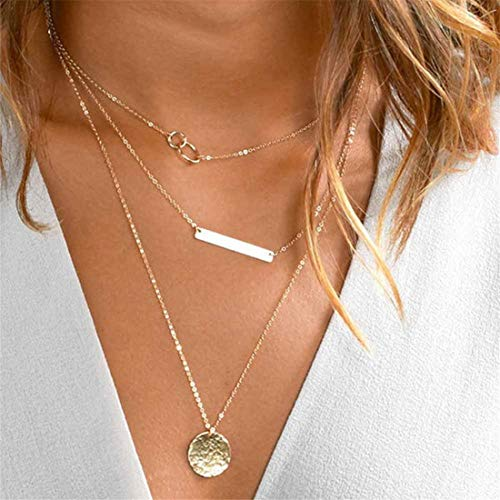 Yingwei VWH Multi Layer Necklace Choker with Long Chain for Women and Girls(Gold)