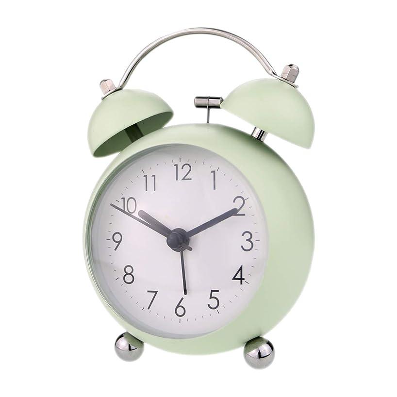細分化する遠い農業のベル音目覚まし時計 PILIFE 大音量 ナイトライト付 連続秒針 アナログ ツインベル 丸い グレーン 2699-green