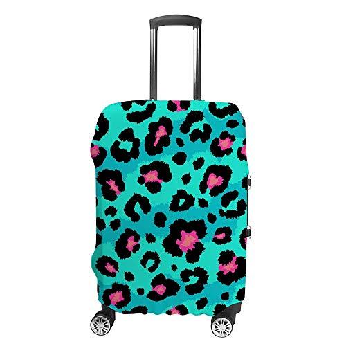 Funda de equipaje gruesa lavable verde leopardo fibra de poliéster elástica plegable ligero protector de maleta de viaje