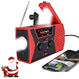 [2021 Premium Version] Emergency-Solar-Hand-Crank-Radio,Puiuisoul Portable NOAA Weather Radios with AM/FM, Alarm,Reading Lamp,2000mAh Power Bank (RED)