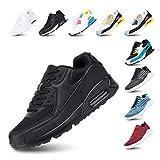 Zapatillas de Running para Hombre Mujer Ligero Correr Air Atléticos Sneakers Comodos Fitness Deportes Calzado Negro 39