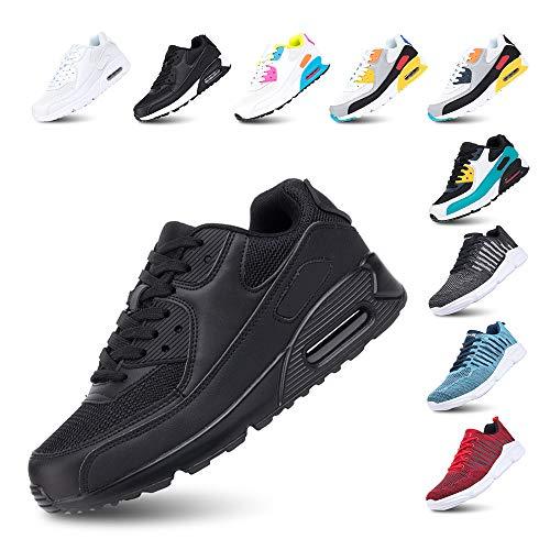 Scarpe Running Uomo Donna Ginnastica Sneaker Leggere Traspirante Outdoor Sportive Calzature da Corsa Pallavolo Tennis Nero 39