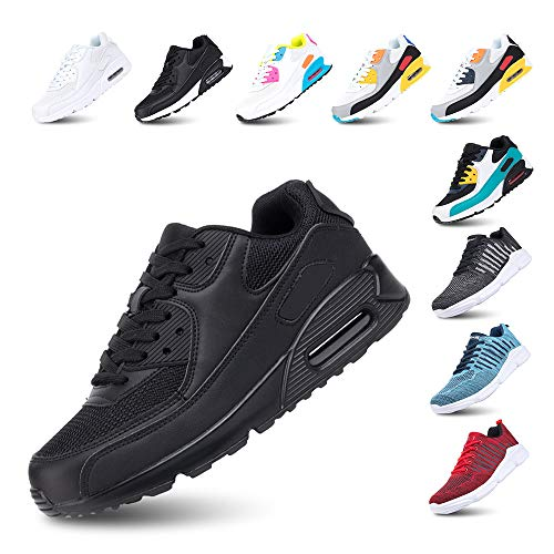 Chaussures de Course Homme Femme Running Sport Fitness Respirantes Legere Gym Athlétique AIR Sneaker Noir 39
