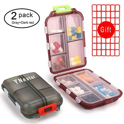 2er Pack Pillendosen 7 Tage wöchentliche Tablettenbox Reise-Pille Pillenetui Medikamentendosierer Pillenbox, 10 Fächer Vitamin Fischöl Fächer Container Tablettendose Pillendose (Dunkelrot + Grau)