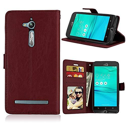 JEEXIA® Funda para ASUS ZenFone Go ZB500KL (5.0 Pulgada), Moda Business Flip Wallet Case Cover PU Cuero con Soporte Cubierta Protectora - Marrón