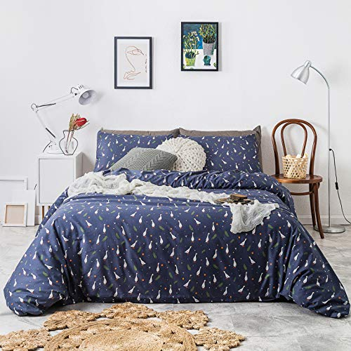 YuHeGuoJi 3 Pieces Duvet Cover Set King Size 100% Cotton Blue Duck Goose Print Bedding Set 1 Cute Animal Floral Pattern Duvet Cover with Zipper 2 Pillowcases Luxury Quality Soft Breathable Lightweight